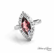 925 Sterling Silver Marquise Shape Ring with Red Rhodolite Natural Gemstone.