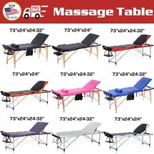 """2 3 Pad 73"""" Portable Massage Table w/Free Carry Case Bed Spa Facial New LOT EA"""