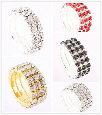 Wholesale Lots Mixed 25X CZ Inlay Rhinestone Crystal Silver Ring Party Gift FREE