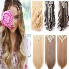 US 100% Real Natural 8Pcs Full Head Clip in Ombre Hair Extensions Straight Wavy