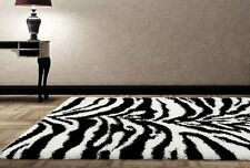 RUGS AREA RUGS CARPET FLOORING 230 WHITE BLACK ZEBRA SHAG LARGE NEW AREA RUG