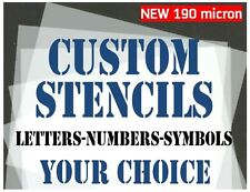 CUSTOM STENCILS 30mm 40mm 50mm Letters Numbers & Symbols YOUR CHOICE 190 micron