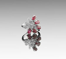 Designer 925 Sterling Silver Ring with Natural Oval Cut Red Ruby Gemstones eBay.