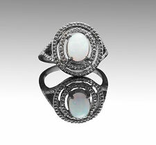 925 Sterling Silver Ring with Natural White Opal Oval Cut Gemstone Handmade.
