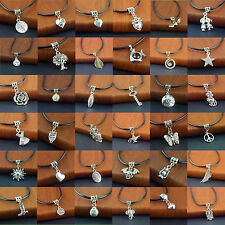Unisex Tibetan Silver Pendant PU Leather String Necklace 20 inch Cords Set Hot