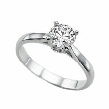 Solitaire Diamond Ring 14K White Gold Certified Promise Band 0.94 CTW H SI1 Ring