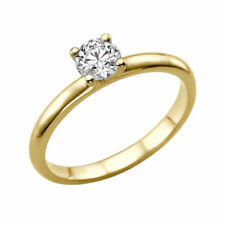 Solitaire Diamond Ring 14K Yellow Gold Certified Promise Band 0.69 CTW G VS2