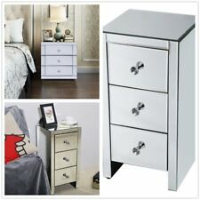 Quality Mirrored Glass Bedside Lamp Table 3 Drawer Bedroom Cabinet Furniture SA