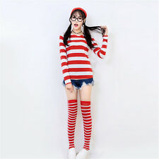 Plus Size Where's Waldo Costume Wheres Wally Wenda Outfit Shirt Hat Glasses Sock