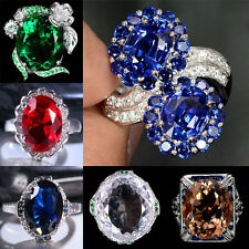 925 Silver Women Man Cocktail Ruby Jewelry Ring Wedding Engagement Size 6-10