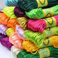 20m 2mm Chinese Knot Satin Nylon Braided Cord Macrame Beading Rattail ThreadCord