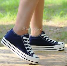 Womens High Top Sneakers Lace Up Platform Increase heels Canvas Shoes@Skateboard