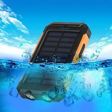 Power Bank Solar Waterproof Charger Usb Dual Phone Portable 10000 Mah Battery