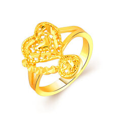 Fashion New Women Lady Bridal Hollow Gold plated Love Heart Wedding Jewelry Ring