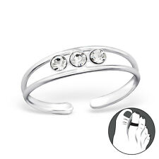 TJS 925 Sterling Silver Toe Ring Trinity Triple CZ Gem Double Band Adjustable