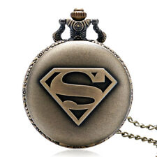Bronze Cool Superman Symbol Men Boy Quartz Pocket Watch Necklace Pendant Chain