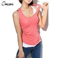 Top Tank Shirt Women Sleeveless Vest Casual Blouse Summer Fashion O-Neck Camis