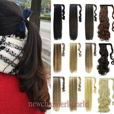 "24/26"" Mega Long Straight Wavy Ponytail Clip in Hair Extensions Real Natural new"