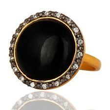 Natural Black Onyx Gemstone 925 Sterling Silver 14K Gold Plated Ring Jewelry