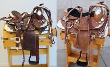 """NEW 12"""" Youth Pony Tooled Leather Western Show Saddle Set with Silver Trim"""