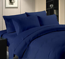 1000TC/1200TC 100%EGYPTIAN COTTON US SIZES ALL BEDDING ITEMS NAVY BLUE  SOLID