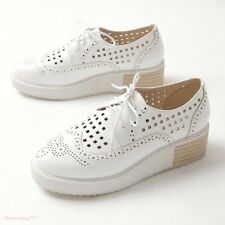 Chic Womens 2017 Oxford Hollow Out Lace Up Platform Brogue Creepers Shoes Wedge