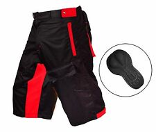 Mens MTB Cycling Shorts Off Road Coolmax Padded Inner Liner Bike Shorts