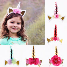 Unicorn Rainbow Girls Hair Hoop Glitter Clips Party Hair Accessories Baby Kids