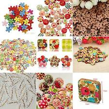 100x Star Heart Flower 2 Holes Wood Sewing Craft Scrapbooking DIY Buttons Best
