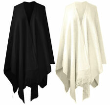 women's plain knitted chunky shawl tassel wrap over cape coat 8-26