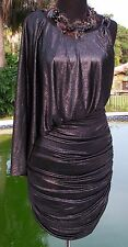 Cache Chain 1 Shoulder Dress New Lined Dolman Sleeve Event Ruched Sz XS 0/2 $188
