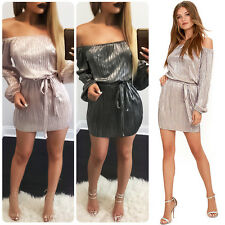 Women's Sexy Off Shoulder Party Evening Shiny Cocktail Clubwear Short Mini Dress