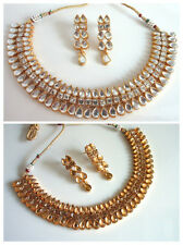 Indian Bollywood Bridal Traditional Gold Tone Stone Necklace Fashion Jewelry Set