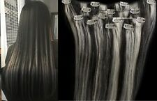 "18"",20"",22"",24"" 100% Remy Human Highlighted Hair Extensions 7Pcs Clip in #1B/613"