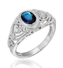 Art Deco Vintage Inspired Oval Created Sapphire Filigree Ring Sterling Silver