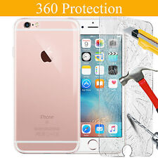 360 Ultra Thin Gel Back Case Cover & Glass Protector For iPhone 7 6 Plus