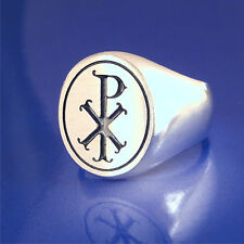 Chi Rho Ring Solid Sterling Silver         (58)