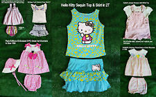 Baby Toddler Girls 2 PC or 3PC Summer Outfits Dress Bloomers Hat Skorts 12M - 2T