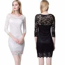 Summer Dress Lace Bodycon Flower O-Neck Evening Party Sundress Short Fashion Hot