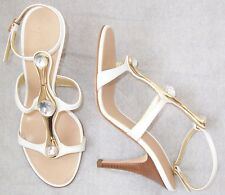 GIUSEPPE ZANOTTI White Leather Crystal Jeweled Sandals Shoes 35.5 or 40.5