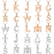 Crystal Silver Gold Tone Alphabet Initial Letter Pendant Necklace Birthday Gift