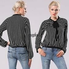 Fashion Women Office Lady Casual Shirt Stripe Long Sleeve Stand Collar HYFG