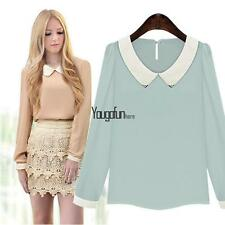 New Women Fashion Long Sleeve Doll Collar Casual Sweet Chiffon Top HYFG01 01