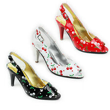 NEW WOMENS LADIES PEEP TOE SLINGBACK MID HIGH STILETTO HEEL COURT SHOES SIZE 2-8