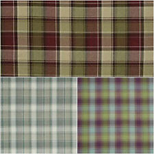10 Mtrs SMD iLiv Tartan Check Argyle Upholstery Curtain Fabric- Natural / Claret