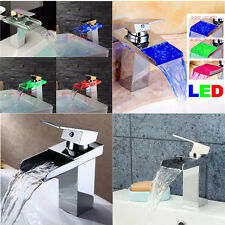 3Model Glass/Brass LED Bathroom Faucet Glass Waterfall One Hole/Handle Mixer Tap