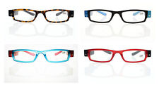 Three Colors Unisex Fashion Reader Reading Glasses With LED Light +1.00 ~ +4.00