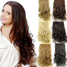 Women Kinky Curly Clip in Hair Extensions Long Wavy Synthetic Hairpiece 5clips/p