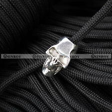 Single / Double Vertical Hole Skull Beads for Paracord Lanyards Knife Flashlight