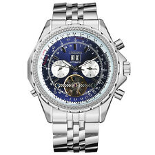 ORKINA 3 Color Silver Stainless Steel Band Men Self-Wind Mechanical Wrist Watch